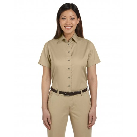 M500SW Harriton M500SW Ladies' Easy Blend Short-Sleeve Twill Shirt with Stain-Release STONE