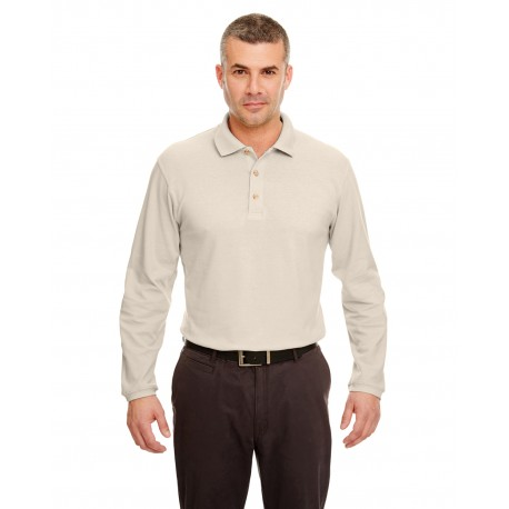 8532 UltraClub 8532 Adult Long-Sleeve Classic Pique Polo STONE