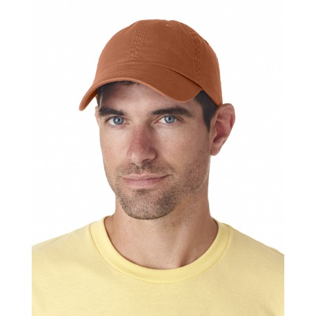 8102 UltraClub 8102 Adult Classic Cut Chino Cotton Twill Unstructured Cap TANGERINE