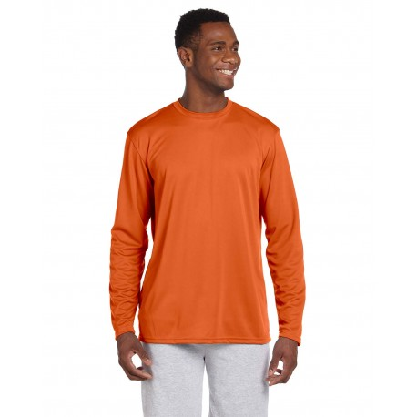 M320L Harriton M320L Adult 4.2 oz. Athletic Sport Long-Sleeve T-Shirt TEAM ORANGE