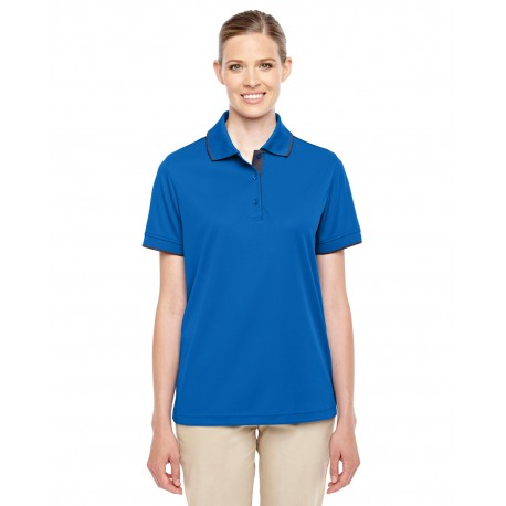 78222 Core 365 78222 Ladies' Motive Performance Pique Polo with Tipped Collar TR ROY/CRBN 438