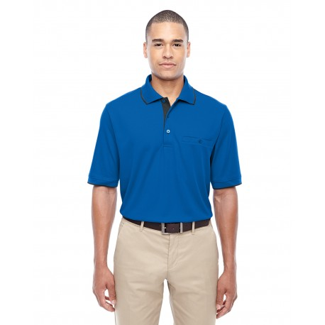 88222 Core 365 88222 Men's Motive Performance Pique Polo with Tipped Collar TR ROY/CRBN 438