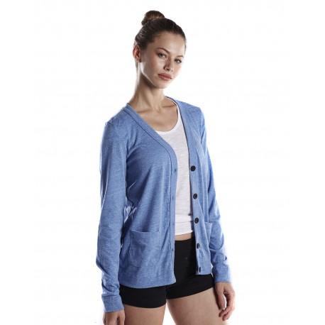 US950 US Blanks US950 Ladies' 4.9 oz. Long-Sleeve Cardigan TRI BLUE