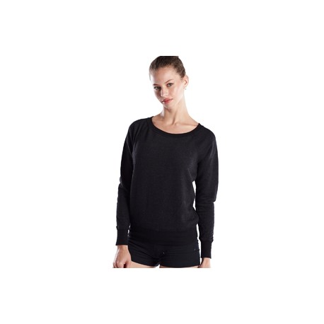 US870 US Blanks US870 Ladies' French Terry Raglan Boat Neck TRI CHARCOAL