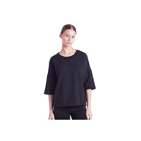 US218 US Blanks US218 Ladies' Open Cross Back Drop Shoulder Sweatshirt TRI CHARCOAL