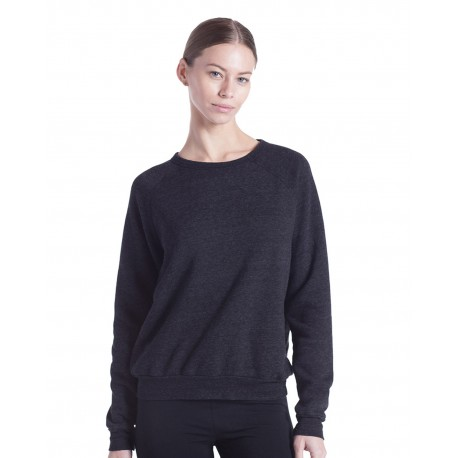 US238 US Blanks US238 Ladies' Raglan Pullover Long Sleeve Crewneck Sweatshirt TRI CHARCOAL