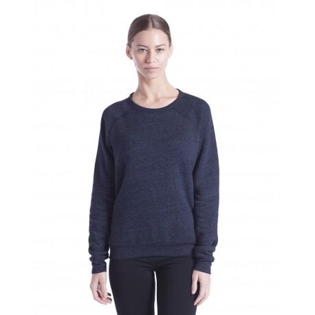 US238 US Blanks US238 Ladies' Raglan Pullover Long Sleeve Crewneck Sweatshirt TRI NAVY