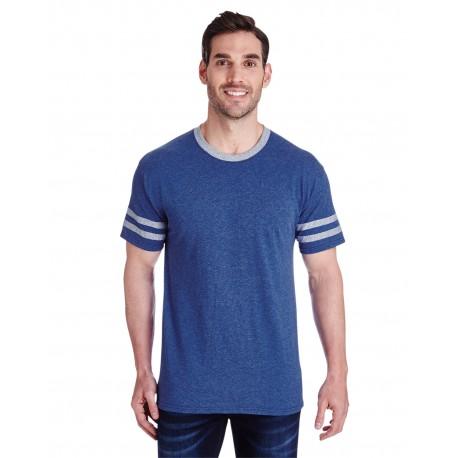 602MR Jerzees 602MR Adult 4.5 oz. TRI-BLEND Varsity Ringer T-Shirt TRU BLU HTH/OXF