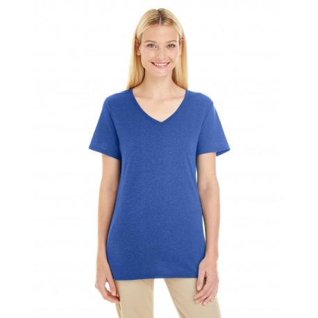 601WVR Jerzees 601WVR Ladies' 4.5 oz. TRI-BLEND V-Neck T-Shirt TRUE BLUE HEATHR