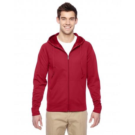 PF93MR Jerzees PF93MR Adult 6 oz. DRI-POWER SPORT Full-Zip Hooded Sweatshirt TRUE RED