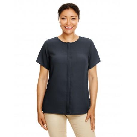 DP612W Devon & Jones DP612W Ladies' Perfect Fit Short-Sleeve Crepe Blouse BLACK