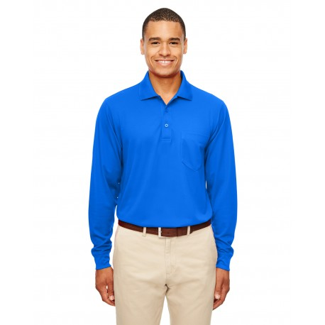 88192P Core 365 88192P Adult Pinnacle Performance Long-Sleeve Pique Polo with Pocket TRUE ROYAL 438