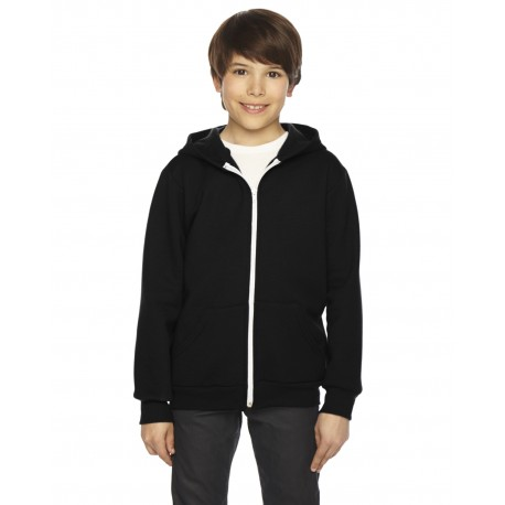 F297W American Apparel F297W Youth Flex Fleece Zip Hoodie BLACK