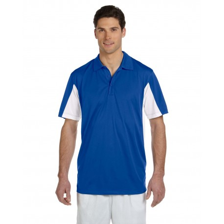 M355 Harriton M355 Men's Side Blocked Micro-Pique Polo TRUE ROYAL/WHT