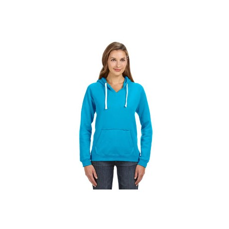 JA8836 J America JA8836 Ladies' Sydney Brushed V-Neck Hood TURQBERRY