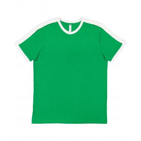 6932 LAT 6932 Men's Soccer Ringer Fine Jersey T-Shirt VINT GREEN/WHT