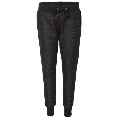 JA8675 J America JA8675 Ladies' Melange Fleece Jogger Pant BLACK