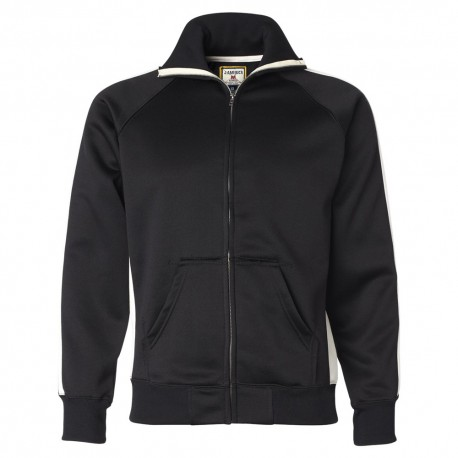 JA8858 J America JA8858 Adult Vintage Poly Fleece Track Jacket BLACK