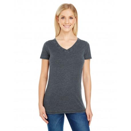 208B Threadfast Apparel 208B Ladies' Vintage Dye Short-Sleeve V-Neck T-Shirt VINTAGE CHARCOAL