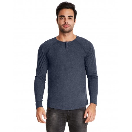6072 Next Level 6072 Men's Triblend Long-Sleeve Henley VINTAGE NAVY