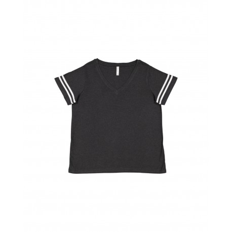 3837 LAT 3837 Ladies' Curvy Football Premium Jersey T-Shirt VN SMK/BL WHT