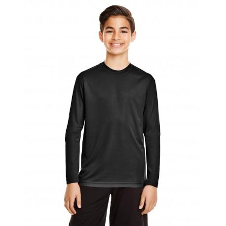 TT11YL Team 365 TT11YL Youth Zone Performance Long-Sleeve T-Shirt BLACK