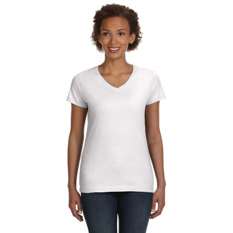 3507 LAT 3507 Ladies' V-Neck Fine Jersey T-Shirt WHITE