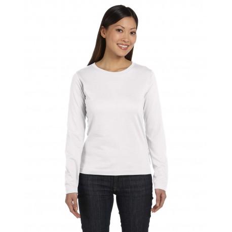3588 LAT 3588 Ladies' Long-Sleeve Premium Jersey T-Shirt WHITE