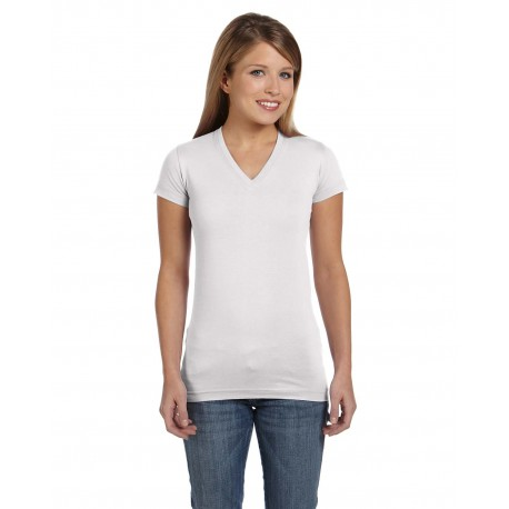 3607 LAT 3607 Ladies' Junior Fit V-Neck Fine Jersey T-Shirt WHITE