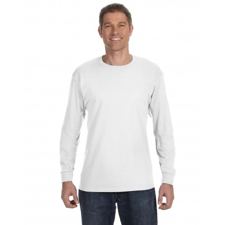 5586 Hanes 5586 Unisex 6.1 oz. Tagless Long-Sleeve T-Shirt WHITE