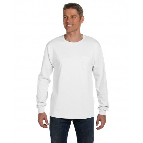 5596 Hanes 5596 Men's 6.1 oz. Tagless Long-Sleeve Pocket T-Shirt WHITE