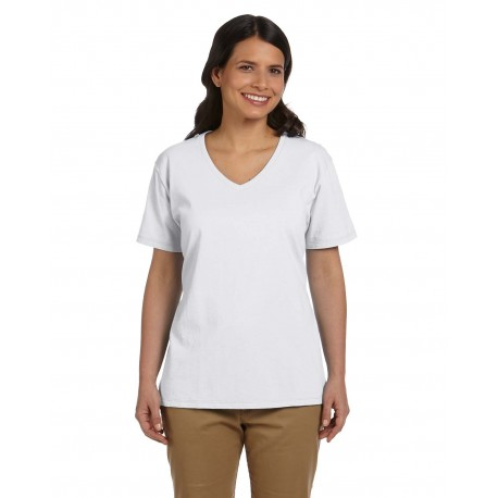 5780 Hanes 5780 Ladies' 6.1 oz. Tagless V-Neck T-Shirt WHITE