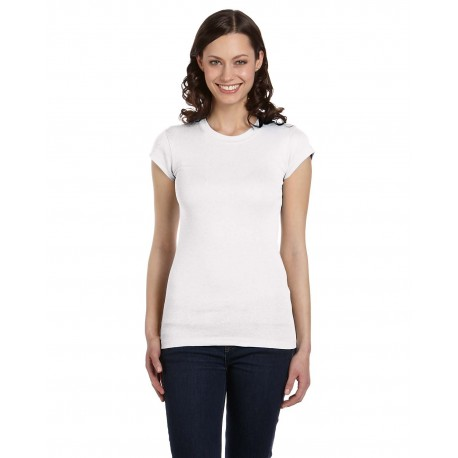 8701 Bella + Canvas 8701 Ladies' Sheer Mini Rib Short-Sleeve T-Shirt WHITE
