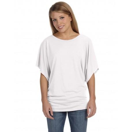 8821 Bella + Canvas 8821 Ladies' Flowy Draped Sleeve Dolman T-Shirt WHITE