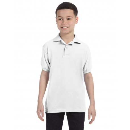 054Y Hanes 054Y Youth 5.2 oz., 50/50 EcoSmart Jersey Knit Polo WHITE
