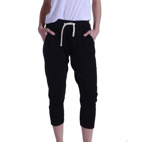 US204 US Blanks US204 Ladies' 2x1 Ribbed Capri Sweatpant BLACK