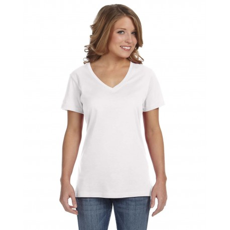 392A Anvil 392A Ladies' Featherweight V-Neck T-Shirt WHITE