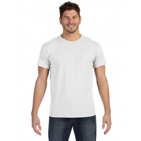 498P Hanes 498P Adult 4.5 oz., 100% Ringspun Cotton nano-T T-Shirt with Pocket WHITE