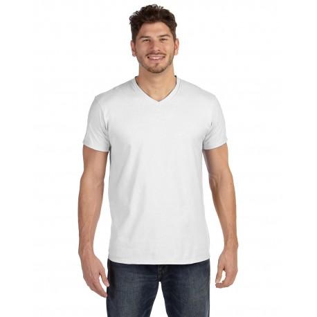 498V Hanes 498V Adult 4.5 oz., 100% Ringspun Cotton nano-T V-Neck T-Shirt WHITE