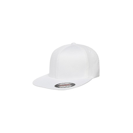 6297F Flexfit 6297F Adult Wooly Twill Pro Baseball On-Field Shape Cap with Flat Bill WHITE