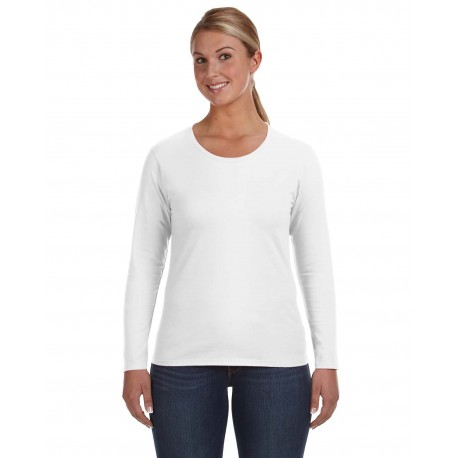 884L Anvil 884L Ladies' Lightweight Long-Sleeve T-Shirt WHITE