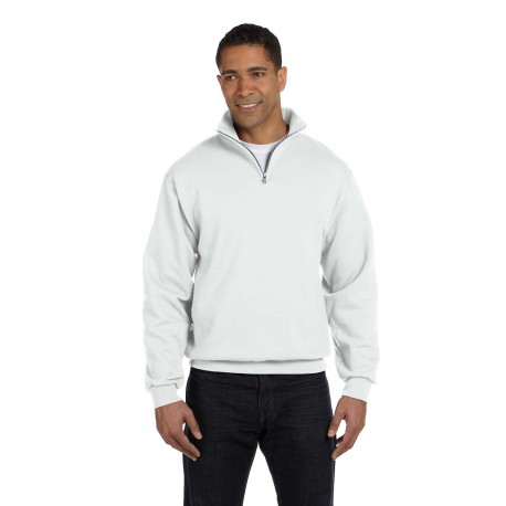 995M Jerzees 995M Adult 8 oz. NuBlend Quarter-Zip Cadet Collar Sweatshirt WHITE