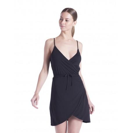 US582 US Blanks US582 Ladies' Modal Wrap Dress BLACK