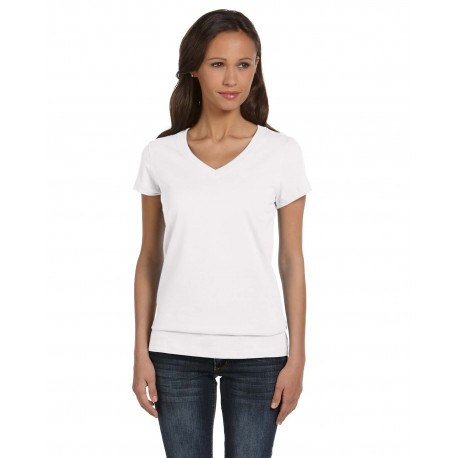 B6005 Bella + Canvas B6005 Ladies' Jersey Short-Sleeve V-Neck T-Shirt WHITE