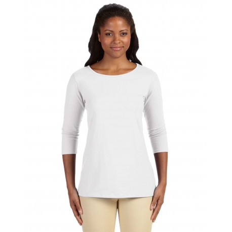 DP192W Devon & Jones DP192W Ladies' Perfect Fit Ballet Bracelet-Length Knit Top WHITE