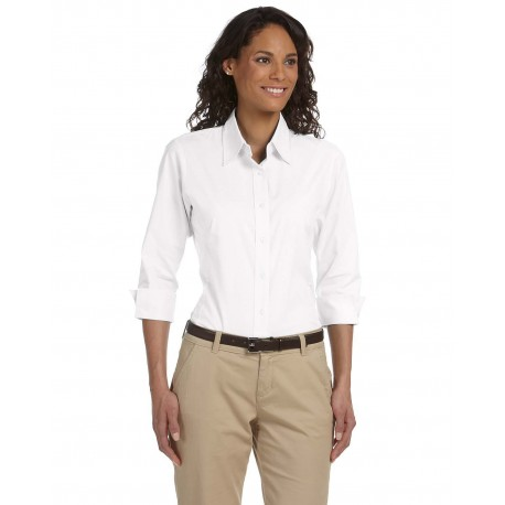 DP625W Devon & Jones DP625W Ladies' Perfect Fit 3/4-Sleeve Stretch Poplin Blouse WHITE