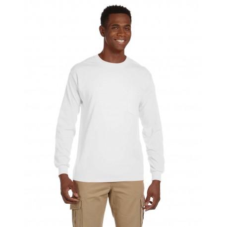 G241 Gildan G241 Adult Ultra Cotton 6 oz. Long-Sleeve Pocket T-Shirt WHITE