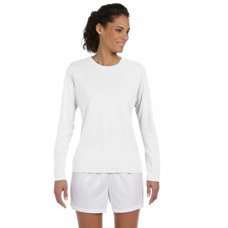 G424L Gildan G424L Ladies' Performance Ladies' 5 oz. Long-Sleeve T-Shirt WHITE
