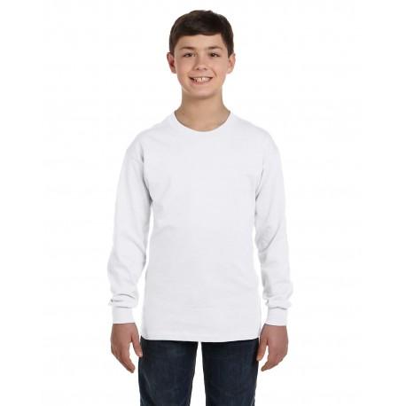 G540B Gildan G540B Youth 5.3 oz. Long-Sleeve T-Shirt WHITE