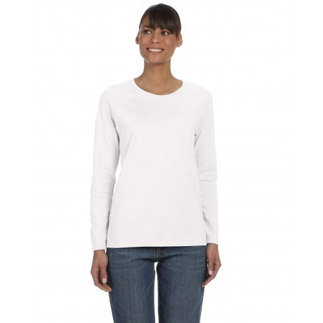 G540L Gildan G540L Ladies' 5.3 oz. Long-Sleeve T-Shirt WHITE